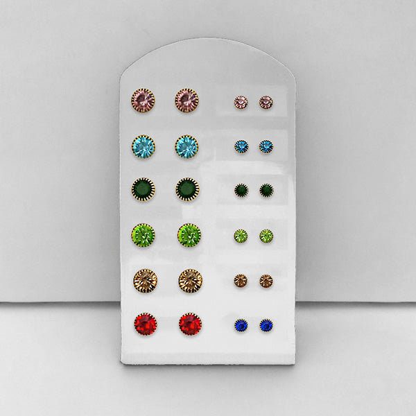Tip Top Fashions Set of 12 Rhinestone Stud Earrings Combo - 1312148