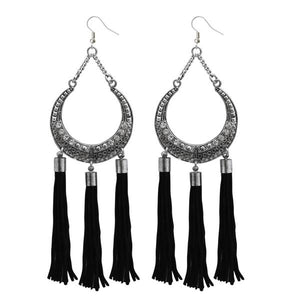 Tiptop Fashions  Black Thread Rhodium Plated Earrings  -  Imitation Jewellery - 1312315b - 13123
