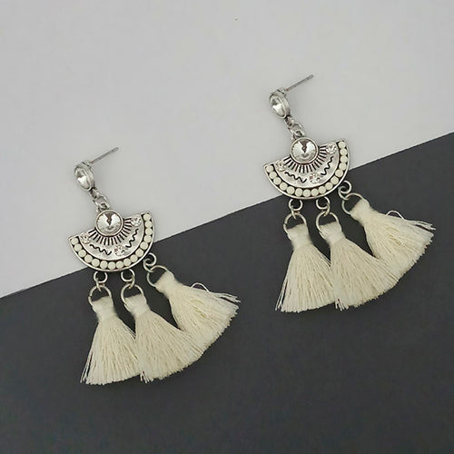 Tip Top Fashions Silver Plated White Thread Earrings - 1312320F