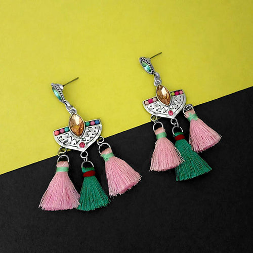Tip Top Fashions Silver Plated Multi Thread Earrings - 1312321D
