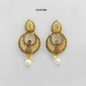 Tiptop Fashions  Brown Austrian Stone Gold Plated Dangler Earrings  -  Imitation Jewellery - 1312710a - 13127