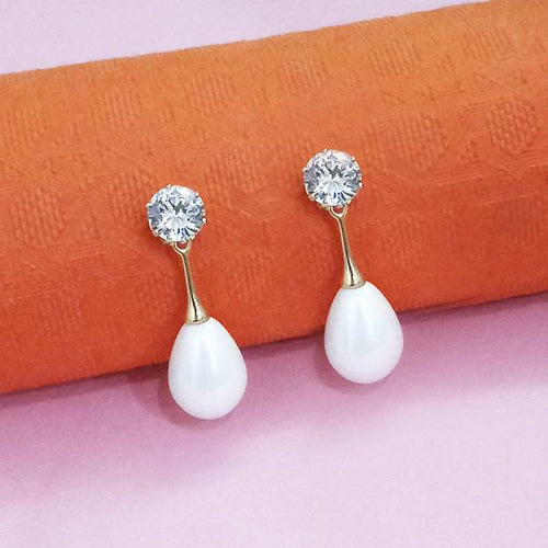 Tip Top Fashions Gold Plated White Austrian Stone And Pearl Stud Earrings - 1312876A