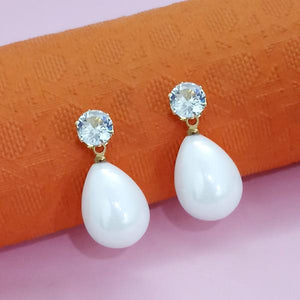Tip Top Fashions Gold Plated White Austrian Stone Stud Earrings - 1312879A