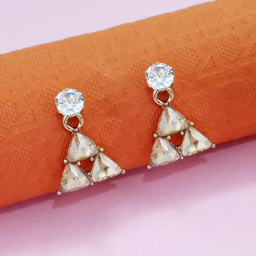 Tip Top Fashions Gold Plated White Austrian Stone Stud Earrings - 1312881C