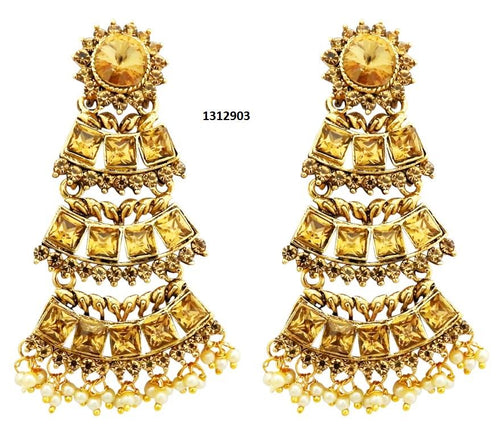 Tiptop Fashions  Brown Austrian Stone Gold Plated Dangler Earrings  -  Imitation Jewellery - 1312903 - 13129
