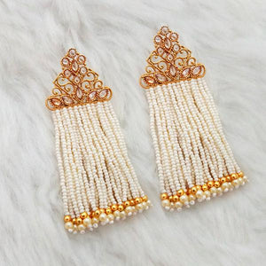 Tiptop Fashions AD Stone Pearl White Copper Dangler Earrings - 1312939