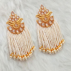 Tiptop Fashions  AD Stone Pearl White Copper Dangler Earrings - 1312940