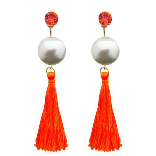 Tiptop Fashions Orange Thread Gold Plated Tassel Earrings - 1313314D