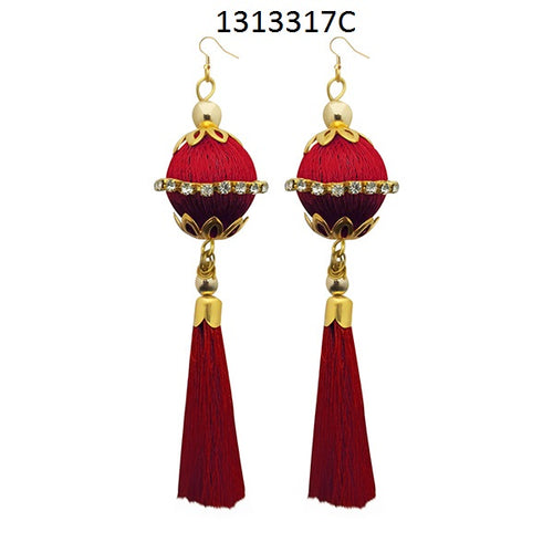 Tiptop Fashions Maroon Thread Gold Plated Tassel Earrings