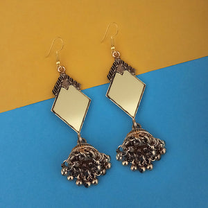 Tip Top Fashions Antique Gold Plated Mirror Jhumki Earrings - 1314939B