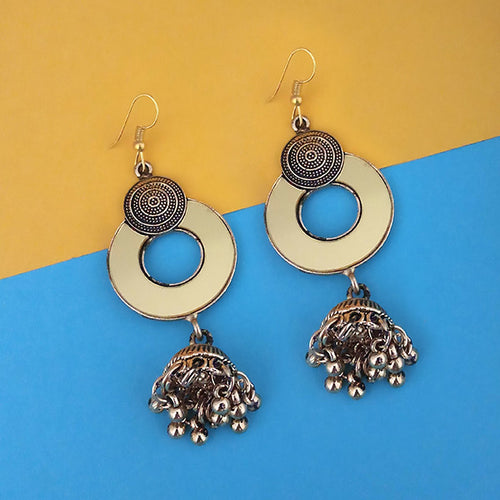 Tip Top Fashions Antique Gold Plated Mirror Jhumki Earrings - 1314944B