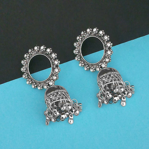 Tip Top Fashions Oxidised Plated Jhumki Earrings - 1315348