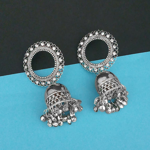 Austrian Stone Silver Plated Jhumki Earrings 1315349