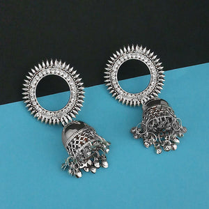 Tip Top Fashions Austrian Stone Silver Plated jhumki Earrings 1315350