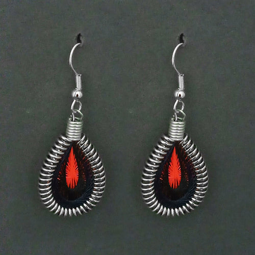 Tip Top Fashions Silver Plated Black Thread Dangler Earrings - 1316101I