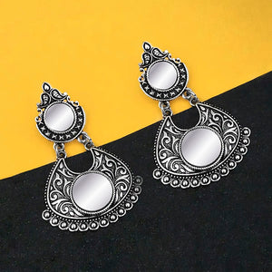 Tip Top Fashions Oxidised Plated Mirror Dangler Earrings - 1316208B