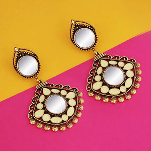 Tip Top Fashions Antique Gold Plated Mirror Dangler Earrings - 1316212A