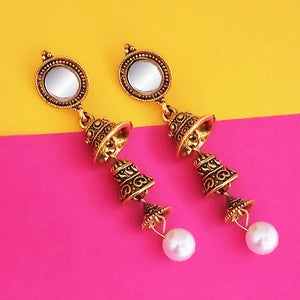 Tip Top Fashions Antique Gold Plated Mirror Jhumki Earrings - 1316213A