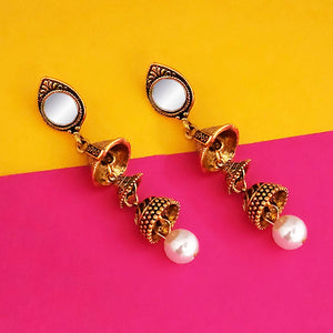 Tip Top Fashions Antique Gold Plated Mirror Jhumki Earrings - 1316214A
