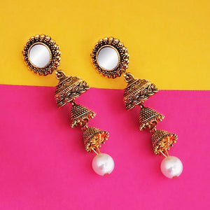 Tip Top Fashions Antique Gold Plated Mirror Jhumki Earrings - 1316215A