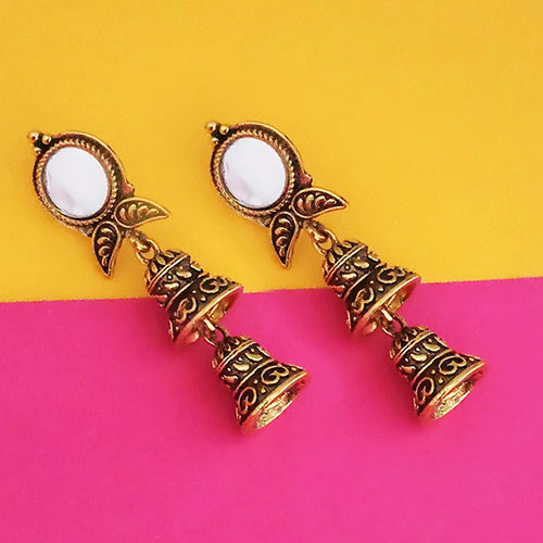 Tip Top Fashions Antique Gold Plated Mirror Jhumki Earrings - 1316219A