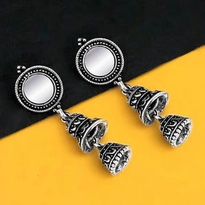 Tip Top Fashions Oxidised Plated Mirror Jhumki Earrings - 1316219B