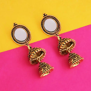 Tip Top Fashions Antique Gold Plated Mirror Jhumki Earrings - 1316220A