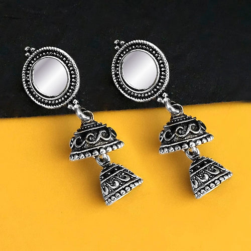 Tip Top Fashions Oxidised Plated Mirror Jhumki Earrings - 1316220B