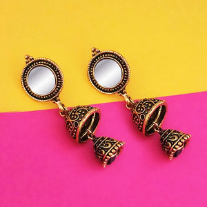 Tip Top Fashions Antique Gold Plated Mirror Jhumki Earrings - 1316221A