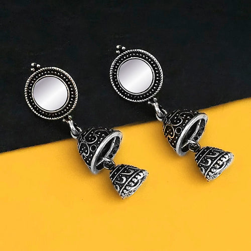 Tip Top Fashions Oxidised Plated Mirror Jhumki Earrings - 1316221B