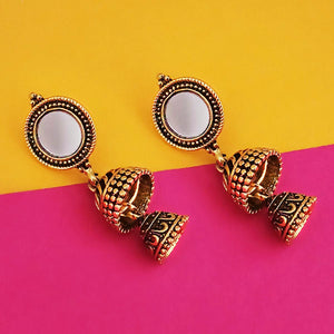 Tip Top Fashions Antique Gold Plated Mirror Jhumki Earrings - 1316222A