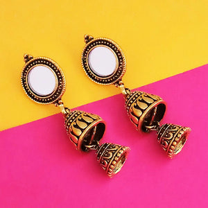 Tip Top Fashions Antique Gold Plated Mirror Jhumki Earrings - 1316223A
