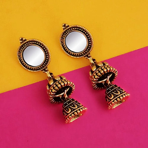 Tip Top Fashions Antique Gold Plated Mirror Jhumki Earrings - 1316224A