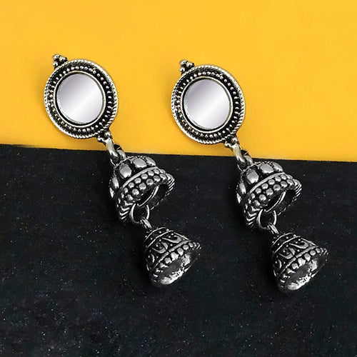 Tip Top Fashions Oxidised Plated Mirror Jhumki Earrings - 1316224B