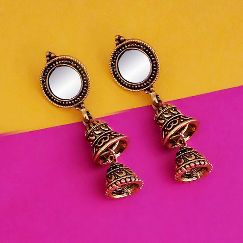 Tip Top Fashions Antique Gold Plated Mirror Jhumki Earrings - 1316225A