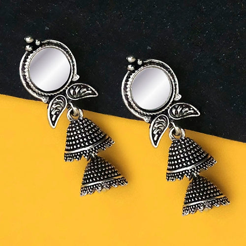 Tip Top Fashions Oxidised Plated Mirror Jhumki Earrings - 1316227B