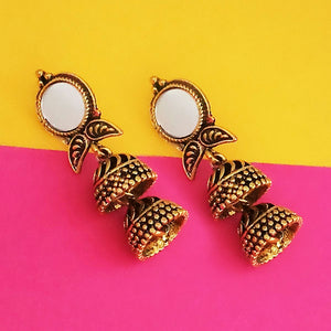 Tip Top Fashions Antique Gold Plated Mirror Jhumki Earrings - 1316228A
