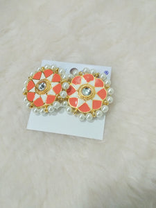 Tip Top Fashions Gold Plated Orange Meenakari Stud Earrings - 1316326B