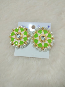 Tip Top Fashions Gold Plated Green Meenakari Stud Earrings - 1316326C