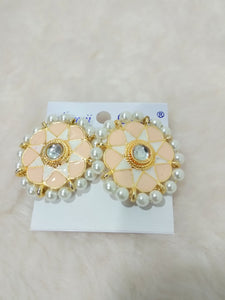 Tip Top Fashions Gold Plated White Meenakari Stud Earrings - 1316326D