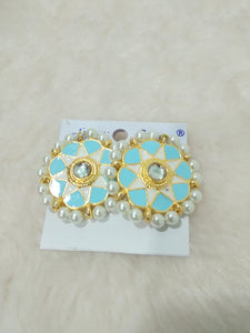 Tip Top Fashions Gold Plated Blue Meenakari Stud Earrings - 1316326E
