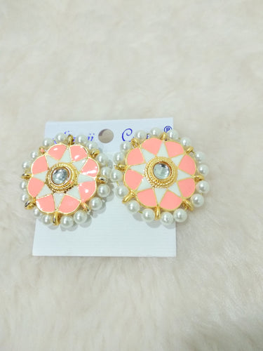 Tip Top Fashions Gold Plated Peach Meenakari Stud Earrings - 1316326F