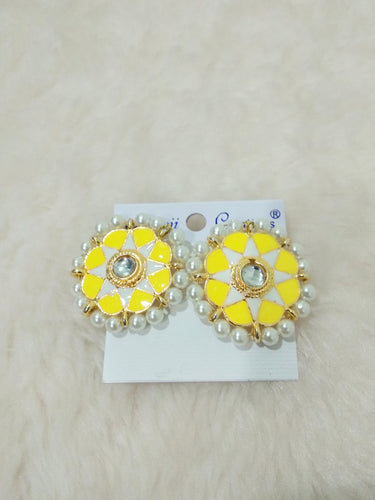 Tip Top Fashions Gold Plated Yellow Meenakari Stud Earrings - 1316326G