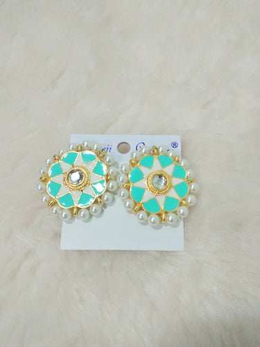 Tip Top Fashions Gold Plated Blue Meenakari Stud Earrings - 1316326H