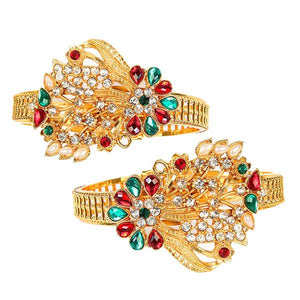 Tip Top Fashions Maroon And Green Austrian Stone Kada Set - 1400225