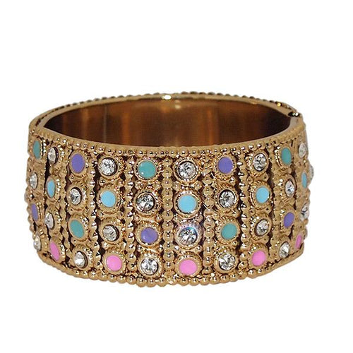 Tiptop Fashions Gold Plated Multicolor Stone Kada - 1400903