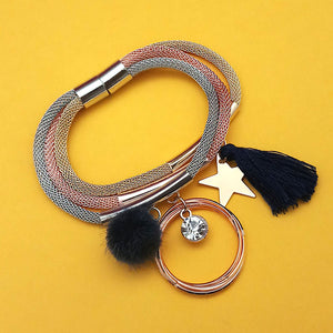 Tip Top Fashions Three Tone Plated Fashion Magnetic Thread Bracelet - 1403556A