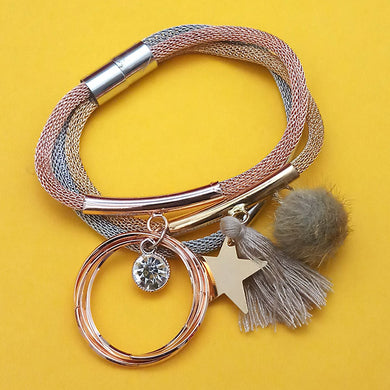 Tip Top Fashions Three Tone Plated Fashion Magnetic Thread Bracelet - 1403556D