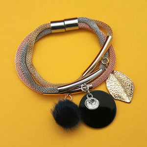 Tip Top Fashions Three Tone Plated Fashion Magnetic Bracelet - 1403557A