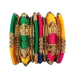 Tip Top Fashions Multicolor Thread Austrian Stone Bangle Set - 1403721_2.4